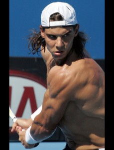 Rafael Nadal of Spain strains his muscle
